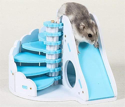 Wacemak1r Juguete para hámster, casa de colores con escalera en espiral y tobogán para jugar a hámster y parque de juegos molar, juguete para mascotas