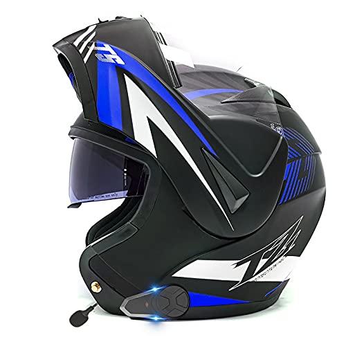SJAPEX Casco de Moto Modular Bluetooth/FM/Integrado con Doble Anti Niebla Visera Cascos de Motocicleta a Prueba de Viento para Adultos Hombres Mujeres ECE/Dot Homologado C,S=55~56cm
