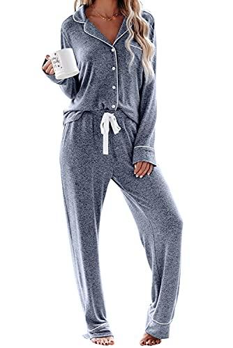 FyoFya Pijamas para Mujer Camisón, Dos Piezas Escote en Pico Camisones lencería Largo Mangas...