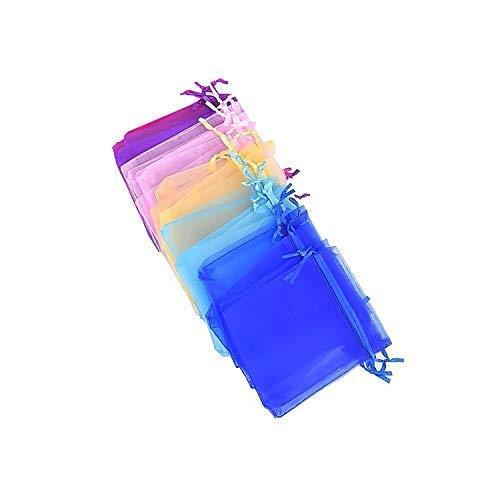 Trimming Shop Mélange Coloré Organza Cadeau Sacs Emballage Pochettes pour Mariage Fête, Sucreries, Bijouterie, Décoration, Fête Cadeaux, Cadeau, Noël, 9cm x 12cm, 50pcs