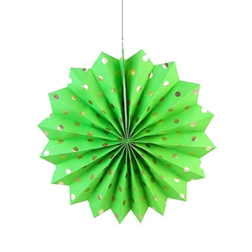 Guiping 1 Pc Hanging Polka Dot Paper Fan Wedding Birthday Party Decoration Rosette Pinwheel Bridal Shower Wedding Backdrop Decor (Color : Lame green)