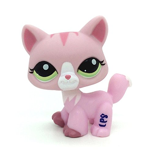 wdd Littlest Pet Shop LPS Figure Toys #1788 Green Eyes Walk Pink Cat Kitten
