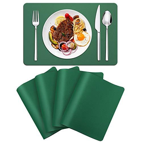 FOGARI Mantel Individual de Cuero, Juego de 4 Manteles Individuales Aislante Lavables Resistentes al Calor y Antideslizantes, para Cocina Restaurantes y Hoteles, Verde
