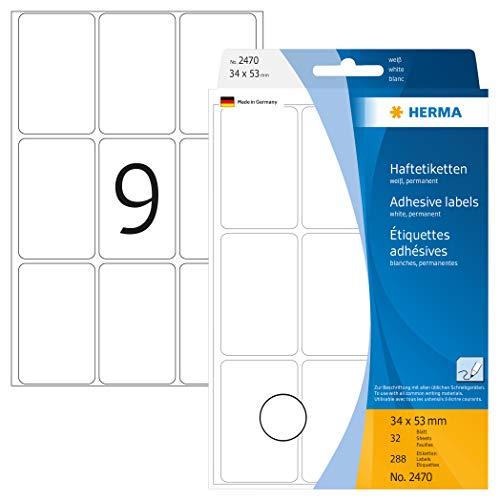 HERMA 2470 Vielzweck-Etiketten (34 x 53 mm, 32 Blatt, Papier, matt) selbstklebend, permanent haftende Haushaltsetiketten zur Handbeschriftung, 288 Haftetiketten, weiß