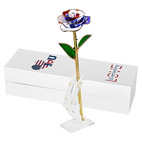 Gold Dipped Rose-24k Gold Real American Flag Roses with Stand-Romantic Anniversary Birthday Gifts for Her/Wife/Mother/Dad/Father (Colorful)