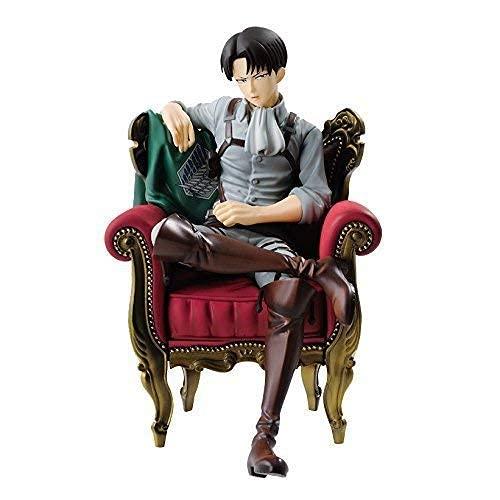 SWWLKJ Ataque a la versión Pop de Titan Levi Ackerman Version con la Estatua de figurilla de carácter de sofá en CLORURO DE POLIVINILO para Recoger estatuas 15 cm