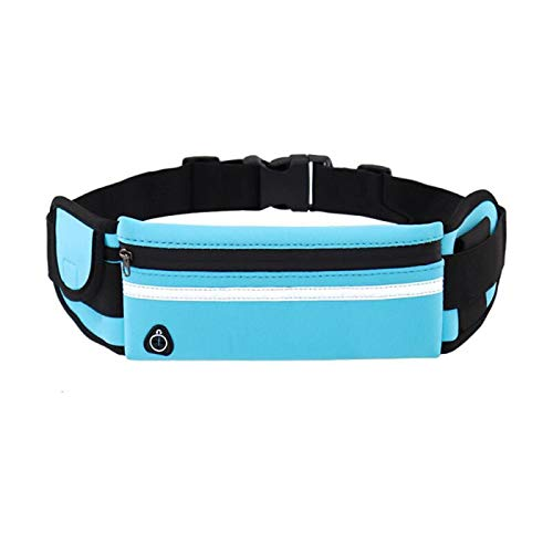 Multifunctional Sports Pocket Mini Fanny Pack For Men Women Portable Convenient USB Waist Pack Waterproof Phone Belt Bag Blue