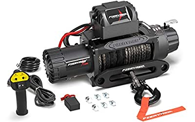 FieryRed Electric Winch - 13000 lb. Load Capacity Synthetic Rope winchesFit for Jeep, Truck, SUV, Trailer with Wirless Remote & Corded Control