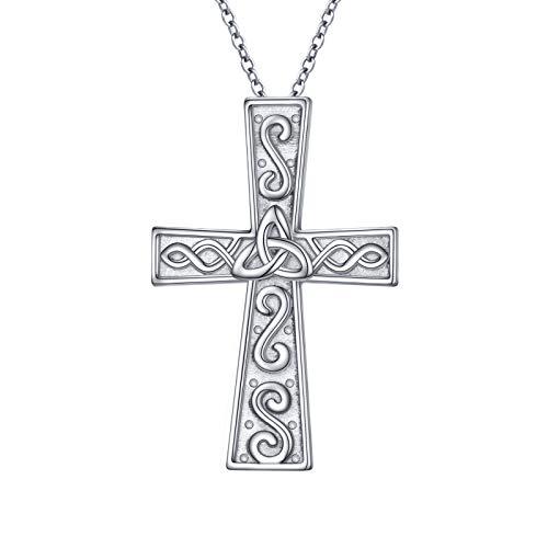 S925 Sterling Silver Celtic Knot Cross Faith Christian Pendant Necklace for Women Girl