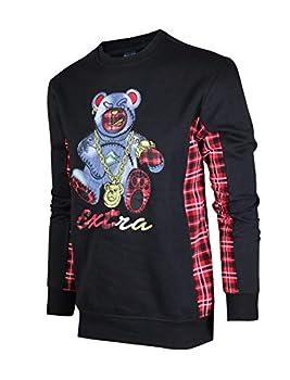 SCREENSHOTBRAND-F11966 Mens Urban Hip Hop Premium Fleece - Pullover Activewear Street Fashion Crew Neack Sweatshirt-Black-Small