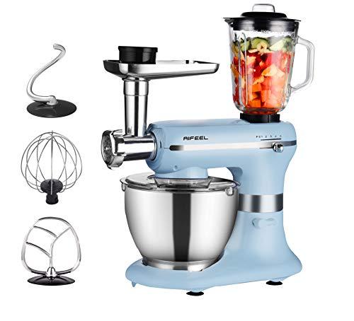 AIFEEL Küchenmaschine - 1200W 6 in 1 Elektrischer teigknetmaschine mit 5,5L SUS Schüssel, Rühraufsätzen, Fleischwolf und Mixer - 5 Geschwindigkeiten Verschiedene kleine Accessoires als Geschenk