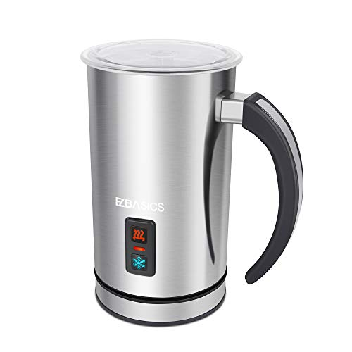 EZBASICS Milk Frother, Milk Steamer Foam Maker for Coffee, Latte, Hot Chocolates, Cappuccino,Electric Milk Frother Stainless Steel,Automatic Hot...