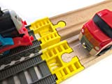 TrainLab Track Adapters Compatible with Trackmaster (2014+) to Wooden Railway Train Tracks (2pc) (Yellow)