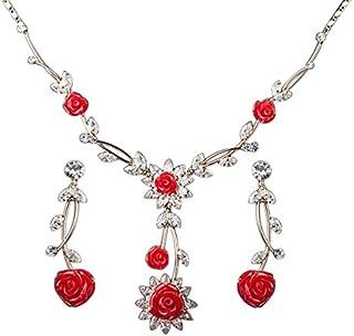 Hanessa, Set di gioielli da donna composto da collana e orecchini, con motivi floreali rossi e inserti dorati