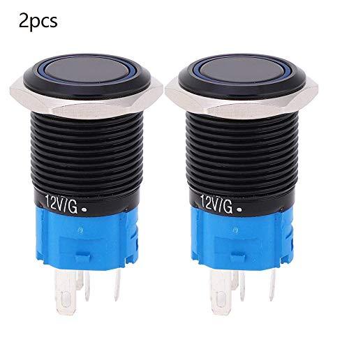 2 stuks 12 V DC 16 mm drukschakelaar, 5 pin zelfborgende metalen ronde drukschakelaar IP65 waterdicht met LED-licht blauw