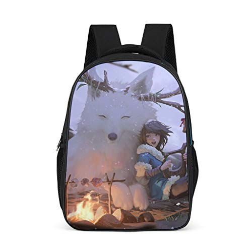 Wolf and Girl Lightweight Backpack for Teens Adults School Bags for Boys and Girls Gifts for Kids Book Bag Bright Gray OneSize