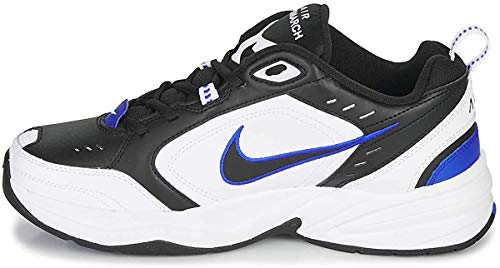 Nike Men's Air Monarch IV Cross Trainer, Black/Black-White-Racer Blue, 10 Regular US
