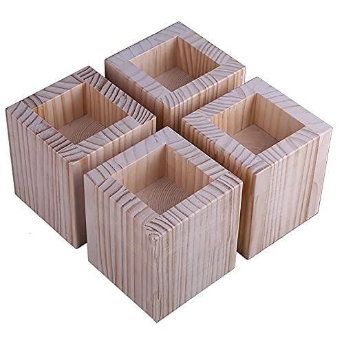 RENSHENKTO 4 pies de mesa duraderos para muebles y patas de muebles con cojinete de carga para cocina, sencillez, madera elegante