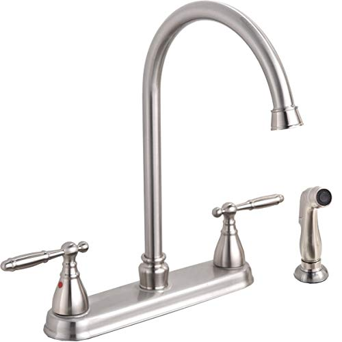 Modern Lead Free High Arc Swivel Spout Two Handle Side Sprayer Kitchen Faucet, Brushed Nickel Finished Kitchen Sink Faucet