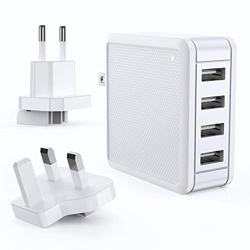 VOGEK USB Mains Charger, 4-Port USB Plug Charger 36W Multi USB Wall Charger Power Adapter with UK/US/EU Plug for iPhone, iPad, Samsung, Android, Tablets and More - White