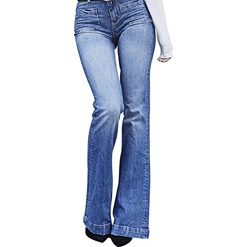 ABUCIYO Flare Faux Jeans Pantalones Mujeres Delgadas Vintage Denim Ladies High Cintura Pantalones de Bolsillo (Blue,Large)