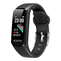 ⌚【Tracker de fitness d'entraînement】Le tracker d'activité surveille votre fréquence cardiaque tout au long de la journée et suit votre sommeil la nuit (sommeil léger, sommeil profond, heure de réveil). Allumez la pression artérielle et l'interrupteur...