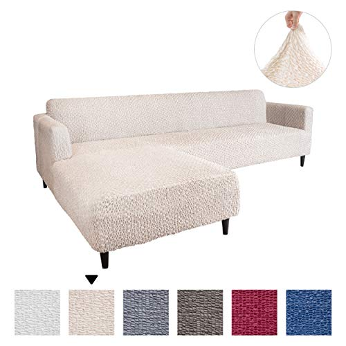 Sectional Sofa Cover - Sectional Couch Covers - L Couch Cover - Soft Polyester Fabric Slipcovers - 1-piece Form Fit Stretch Furniture Slipcover - Velvet Collection - Vanilla (Left Chase)