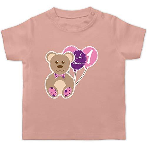 Geburtstag Baby - Ich Bin 1 Mädchen Bär Luftballons Erster - 3/6 Monate - Babyrosa - 1 Geburtstag mädchen - BZ02 - Baby T-Shirt Kurzarm
