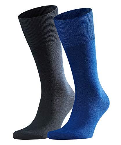 FALKE Herren Socken Airport 2-Pack - Merinowoll-/Baumwollmischung, 2 Paar, Blau (Royal Blue 6000), Größe: 45-46