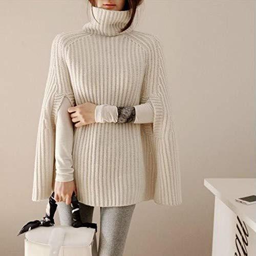 BAOWANG Damen-Pullover mit hohem Kragen, Wilder Poncho mit Ärmeln, Geteilte Gabel Einheitsgröße weiß