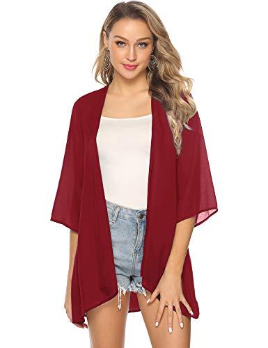 Abollria Damen Chiffon Kimono Cardigan Elegante Leichte Sommerjacke 3/4 Arm Casual Strand Cover Up für Urlaub,Rot,XL