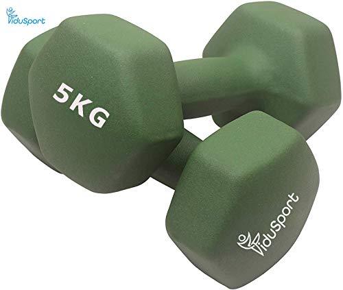 Fidusport Dumbbell Set aus Zement Neopren 2er Set (2x1kg - 2x2kg 2x3kg 2x5kg) - Gewicht Handgewicht Hanteln Gewichte Für Bodybuilding Fitness Gewichtheben (Dunkel Grün, 2x5kg)