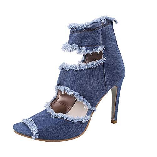 Dames sandalen Hoge hakken sexy peep-toe hol Zomer schoenen enkellaarzen voor dames cowboy denim