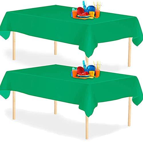 YANGTE Mantel de Plástico Desechable, Verde 4 Unidades, 137 x 274 cm, para mesas Interiores o Exteriores,Fiestas, Cumpleaños, Bodas, Navidad