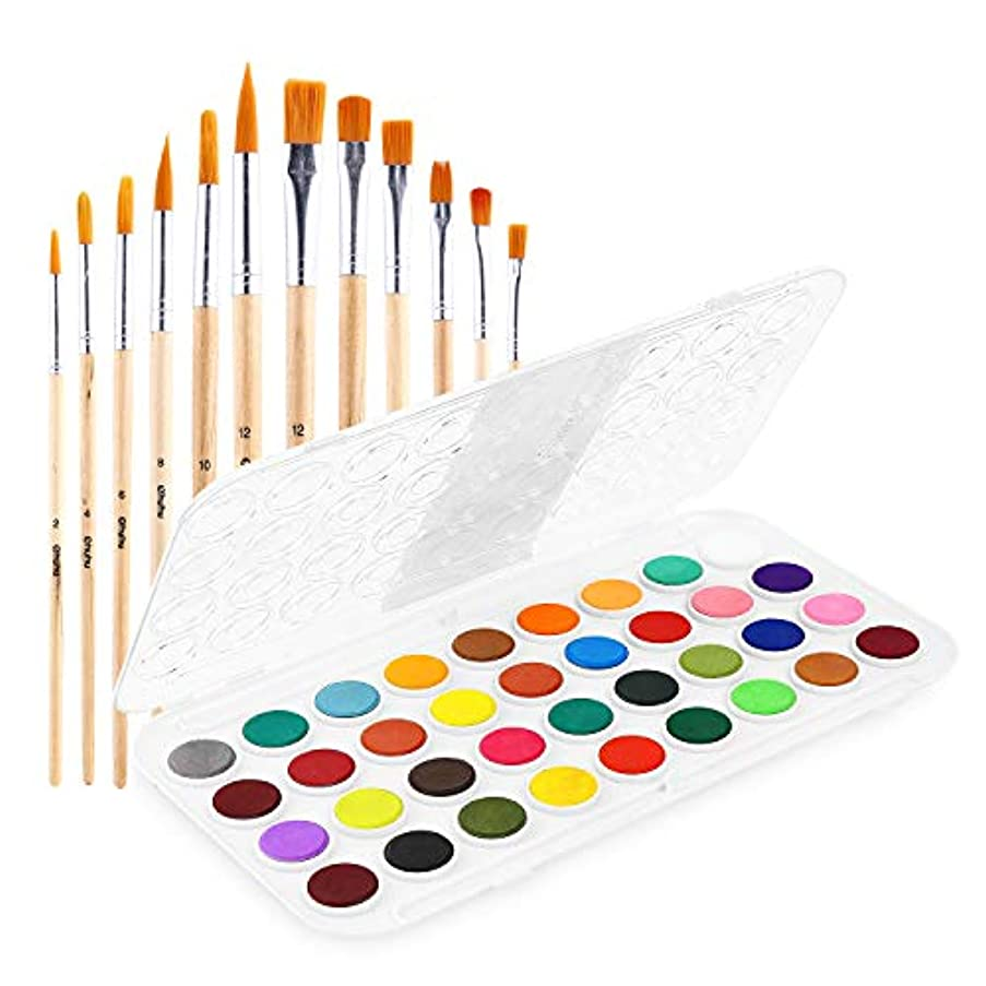 Fundamentals Watercolor Artist Set, 36-Color Ohuhu Watercolor Pan Set Water Color Set, Bonus a Variety of 12 Paintbrushes for Watercolor Paints, Acrylic Painting, Back to School Supplies