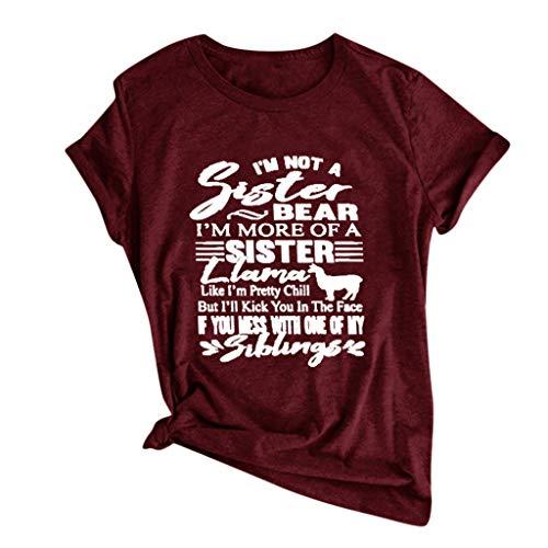 Xniral Damen T-Shirt Sommer Buchstabe Drucken Einfach Kurzarm O-Ansatz Bluse Multiple Choice Tops Party Sport Wild Tunic Shirt(d Wein,S)