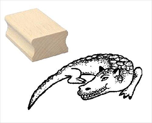 Stempel houten stempel motiefstempel « krokodil » scrapbooking - embossing kinderstempel dierstempel kinderen kleuterschool dierpark reptielen
