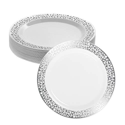 Matana 20 Platos Pequeños de Plástico Duro Blanco con Borde Plateado, Platos de Postre, 18cm - Elegante, Resistente y Reutilizable.