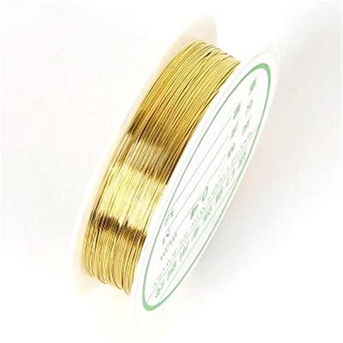 HLH Colorfast alambre de cobre, para pulsera, collar, joyería, accesorios de bricolaje, cuentas de manualidades, cuerda de alambre (color: dorado, tamaño: 1 mm x 1,8 m)