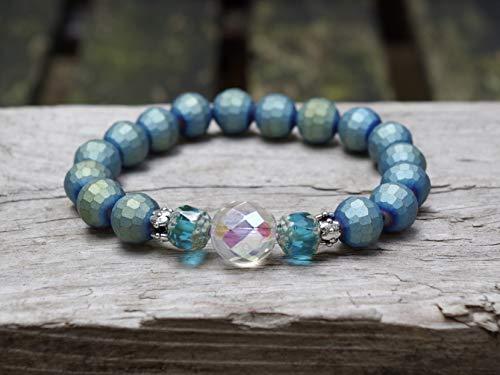 NEU!!! Armband mit funkelnden Glasperlen - blau, grün, aqua, klar AB & silber