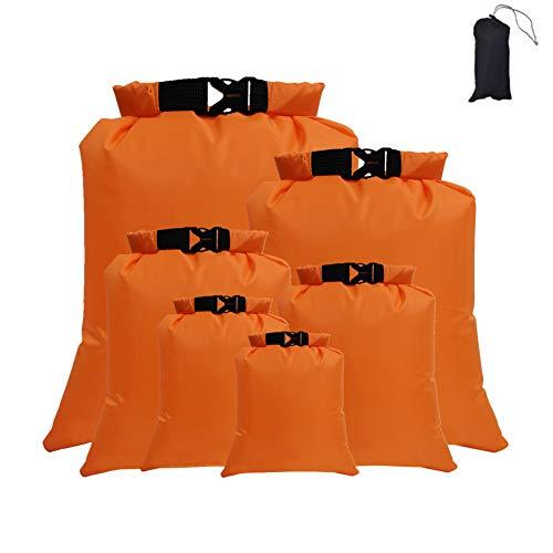 GYHH Paquete De 6 Bolsas Secas A Prueba De Agua Multicolores, Bolsas Secas Ligeras, Juego De Bolsas Secas Flotantes para Canotaje En Balsa (Orange)