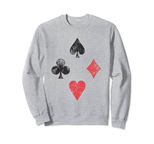 Vintage look playing card suits colors poker Sweatshirt