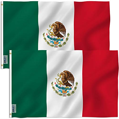 ANLEY Pack of 2 Fly Breeze 3x5 Foot (90x150 cm) Mexico Flag - Vivid Color and UV Fade Resistant - Canvas Header and Double Stitched - Mexicaanse MX National Flags Polyester met koperen Grommets 3 X 5 Ft