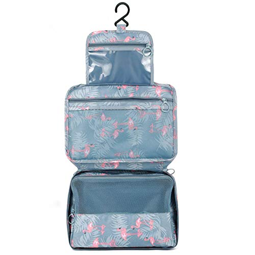Hanging Travel Toiletry Bag, Astory Waterproof Cosmetic Bag Makeup TravelOrganizer Folding Portable Wash Bag for Women and Girls (Flamingo)