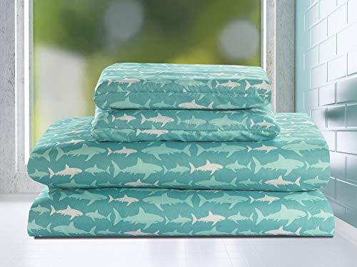 HowPlum Twin 3 Piece Microfiber Sheet Set Shark Bedding Kids Teal Blue White
