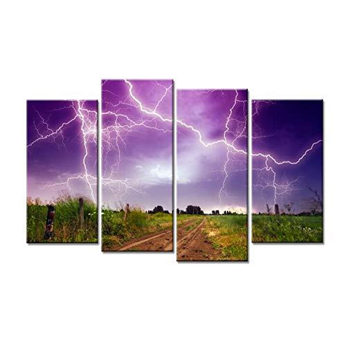 KPWAN canvasdruk 4 stuks verbluffende Lightning Path moderne posters muurkunst woonkamer decoratie (D) mit Rahmen