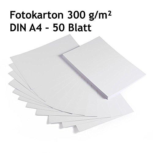 Fotokarton, Bastelkarton weiß, 50 Blatt, DIN A4, hochwertige Qualität, 300 g/m²