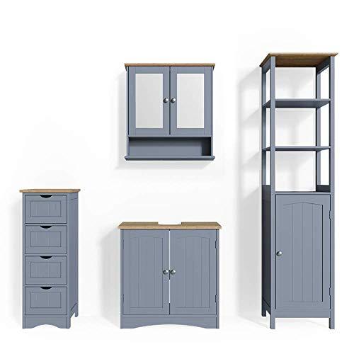 Vicco Badmöbel Set Bianco Spiegelschrank Waschtischunterschrank Badschrank Badezimmermöbel Set im Landhausstil (Grau, Set 4)