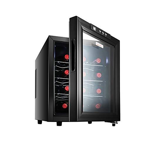 Enfriador vino Refrigerador doble zona para 12 botellas Suave y a prueba golpes bajo nivel ruido Circulación aire frío Sin escarcha temperatura constante Vidrio con revestimiento hueco doble capa