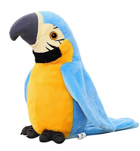 Juguete de peluche con forma de loro parlante más lindo que habla mascota juguete de peluche que repite lo que dices ondeando las alas, disco electrónico, juguete de peluche, animal, interacti